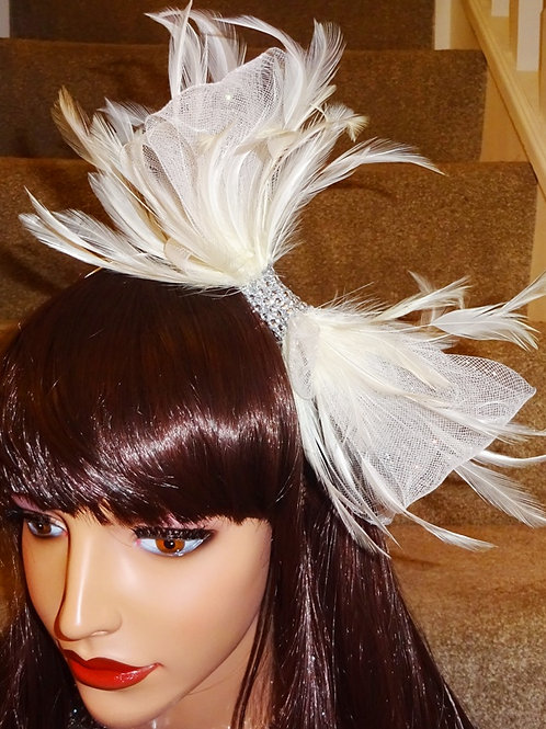 Cream Fascinator Band with sparkly centre 747471