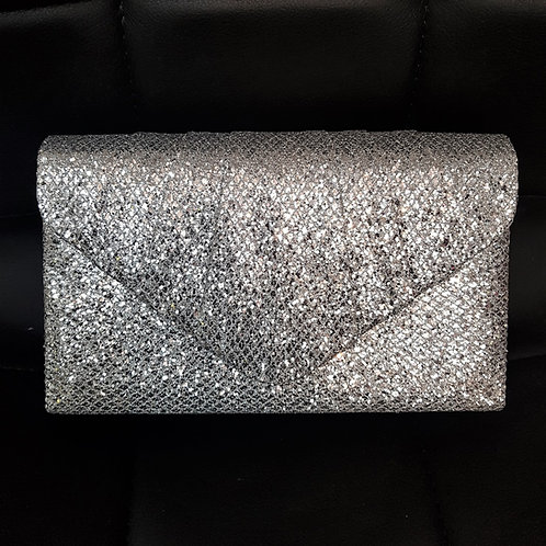 Sparkly silver clutch Bag with strap 739426
