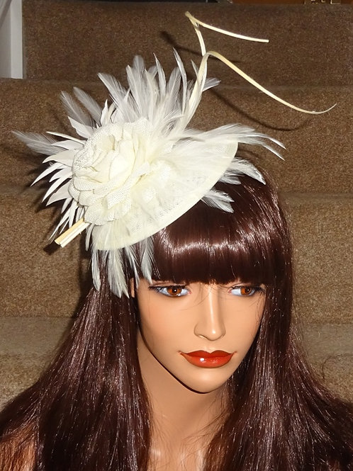 Ivory Cream Fascinator Hat with 2 curled quills on a clip