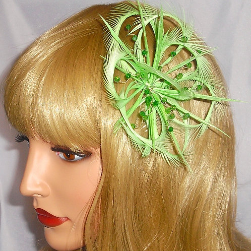 Green Looped Fascinator Comb with Crystals