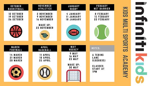 Multi Sports calendar