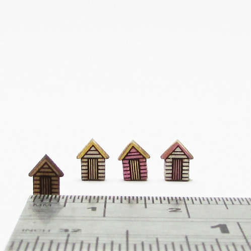 Teeny Wooden Beach Huts (pack 3)