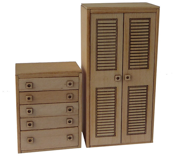 1/24th Scale Wardrobe & Drawers Kit