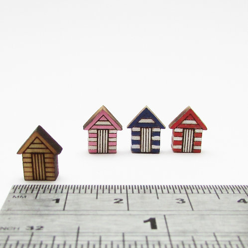 Small Wooden Beach Huts (pack of 3)