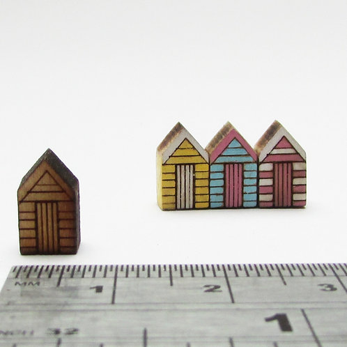 Small Straight Sided Wooden Beach Huts (pack 3)