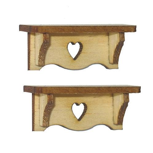 1/12th Scale Two Heart Bracket Shelves Kit