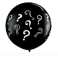 "Question Printed Black Latex 36"""