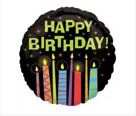 "18"" Happy Birthday candles black"