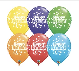 Happy Birthday Printed Dots 11""