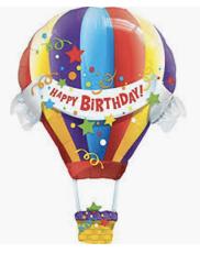 "Happy Birthday Hot Air Balloon 42"""
