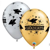 Congrats Grad printed Gold/Silver latex