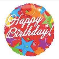 "18"" Red Star Happy Birthday"