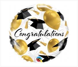 "Congratulation black/gold 18"""