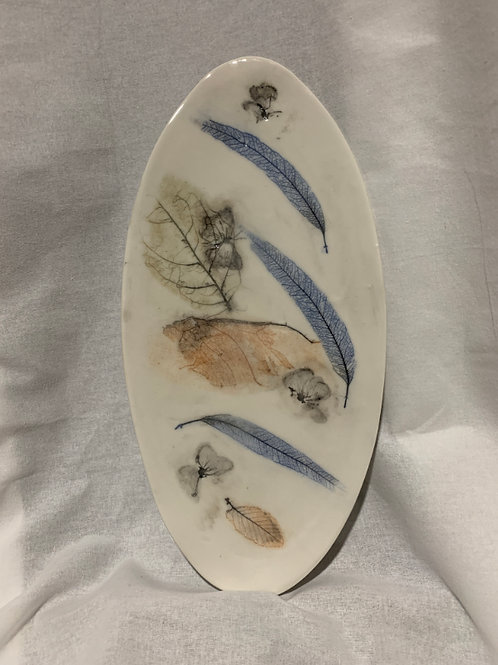 Leaf and Butterfly Oval Platter