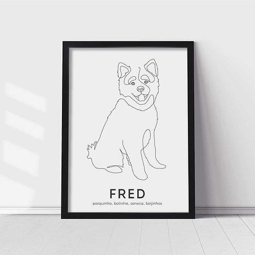 Quadro Pet Personalizado - Moldura Preta