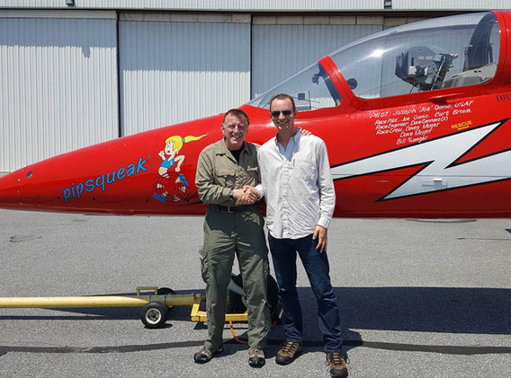 Joe Gano congratulating Lt. Holland on joining the Warbirds of Delaware 7G Club