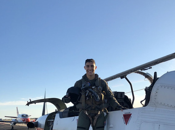 Marine Lt. Frank Davis completes his flight in a T-6 as a Naval Aviator