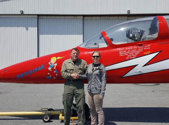 Joe Gano congratulating Lt. Headrick on joining the Warbirds of Delaware 7G Club
