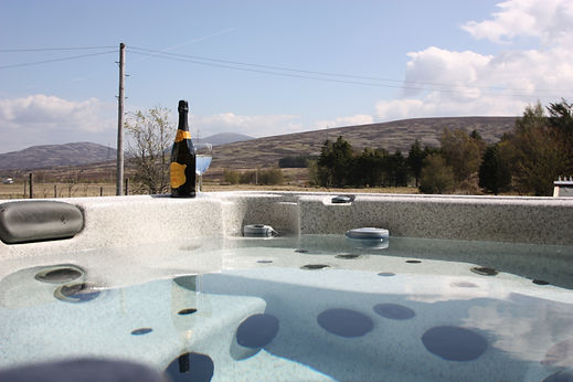 Spa with a view of the Cairngorm mountains