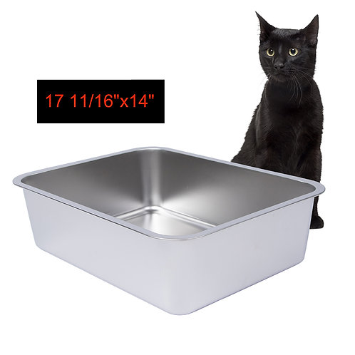 15 cm Side Height Stainless Steel Litter Box for Cat and Kitten