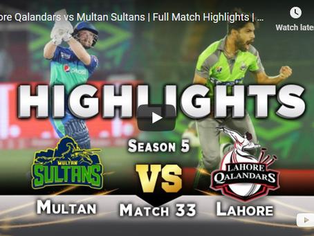 لاہور قلندر نے ملطان سلطان کو 25 رنز سے شکست دے کر فائنل میں پہنچ گیا