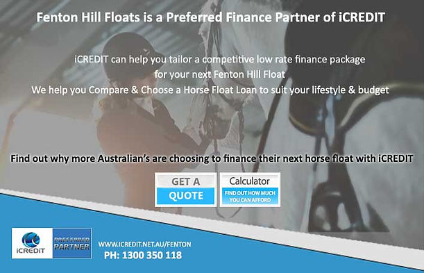 iCREDIT can help tailor a competitive low rate finance package for your next Fenton Hill Float. iCREDIT help you compare & choose horse float loans to suit your lifestyle and budget. www.icredit.net.au/horse-float-finance