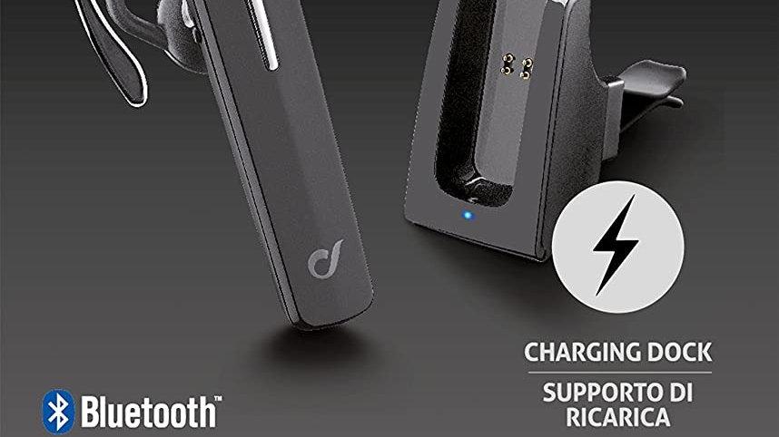 Cellular Line Btcarpro Pro Auricolare Bluetooth con Supporto Auto Attivo