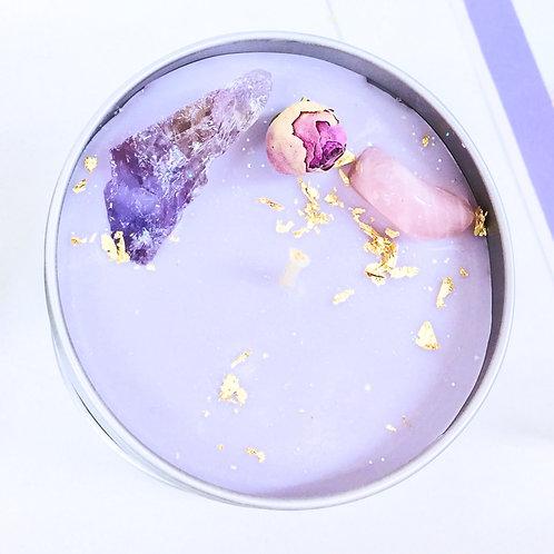 Bougie Parfumée Amethyste Quartz Rose 200g