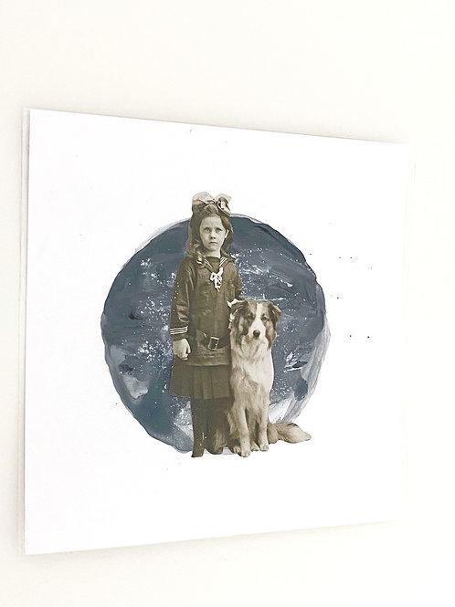 Illustration collage et peinture Jeune fille et Chien