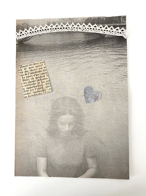 Illustration ancienne collage Femme Rêverie