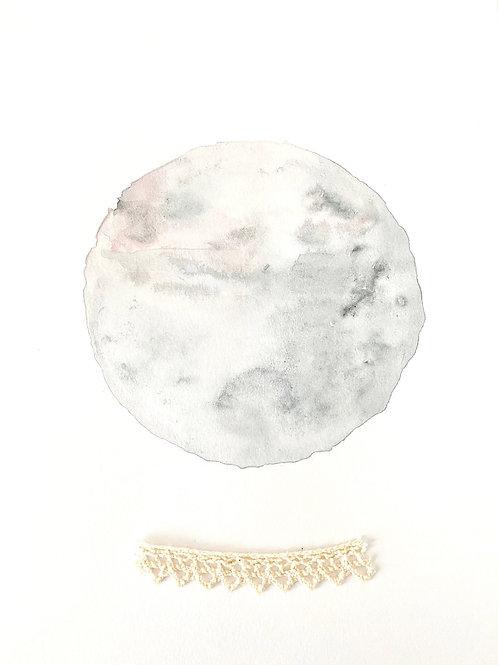 Illustration Lune aquarelle et dentelle