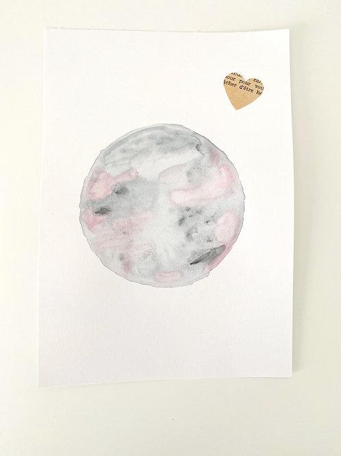 Illustration Lune aquarelle
