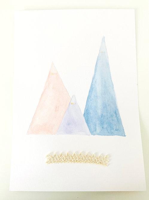Illustration aquarelle montagnes