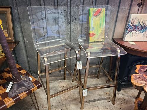 "Acrylic and Metal ""Ghost"" Barstools"