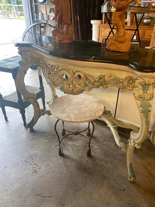 Marble top carved console table