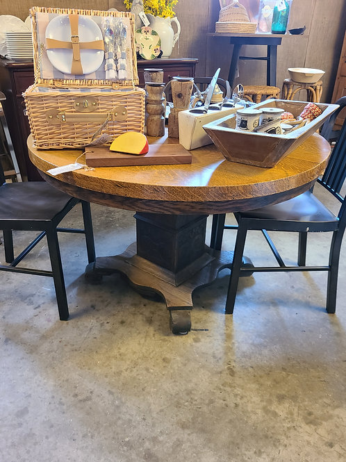 Two Toned Round Oak Table