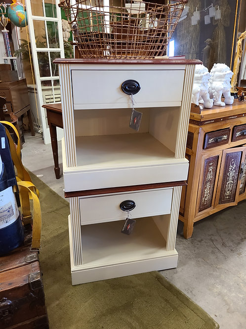 White w/Stained top Side Table