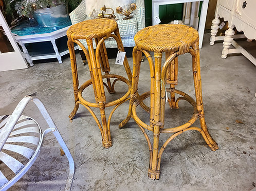 Mid Century Bamboo and Wicker Bar Stool