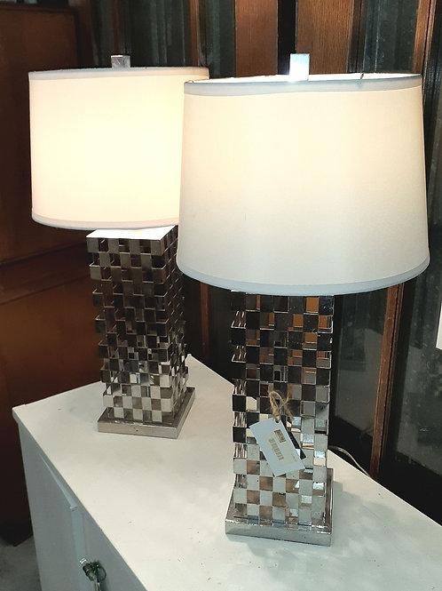Pair of basket weave metal lamps w/shades