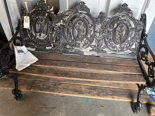 "Antique French ""Seasons"" Garden Bench"