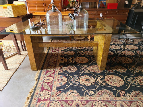 Glass Top Dining Table - Gold Base