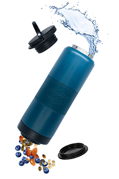 ocean view water bottle spinning with water and snacks coming out.png