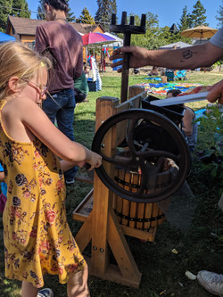 Apple pressing in the autumn
