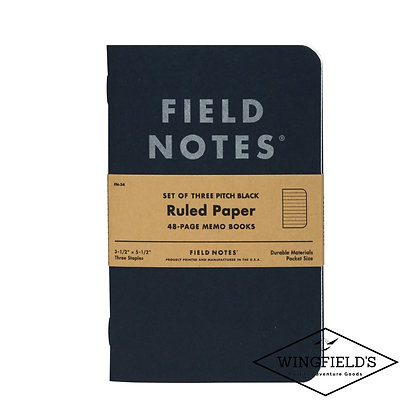Field Notes - Pitch Black - Ruled 3-Pack