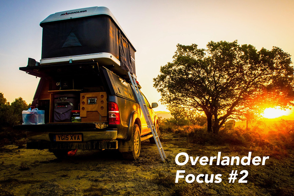 Overlanding Toyota Hilux at sunset
