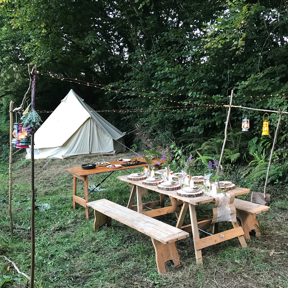 Woodland camping, wild food, food for free, wild cooks, woodland feast