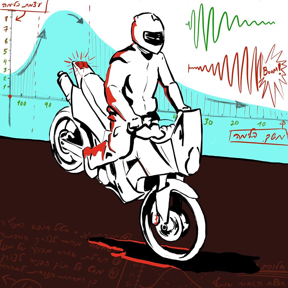 ציור אופנוע בסטופי, גרף בלימה נכונה של אופנוע, הסברים על בלימה נכונה ברקע.