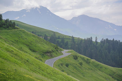 כביש מפותל ברקע נוף הררי פראי