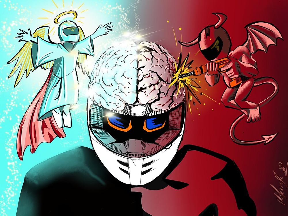 ציור של עיניים בתוך קסדה, שטן ברקע אדום מצד אחד, מלאך ברקע כחול מצד שני