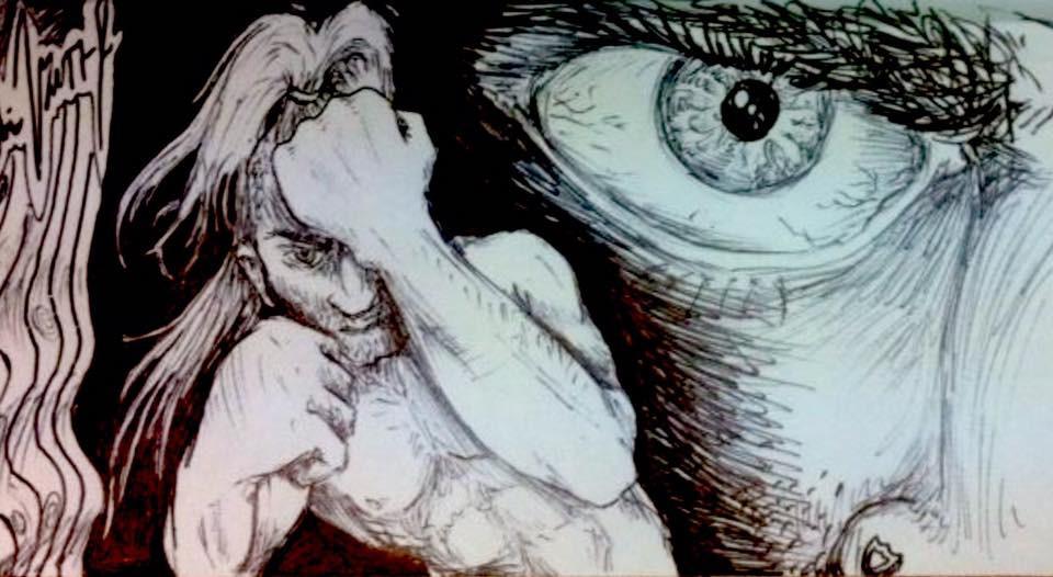 ציור שחור לבן, עין כועסת, לוחם מרים אגרופים